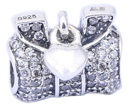 925 Sterling Silver Charms Ale Rhinestone Bow Charms for Pandora Bracelets Basic Love Heart DIY Beads Accessories
