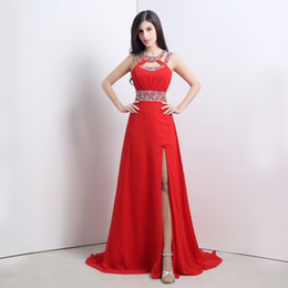 2015 In Stock Red Prom Dresses A Line Floor Length Jewel Side Splite Formal Evening Gowns Size 6 to 16 Chiffon party Dresses