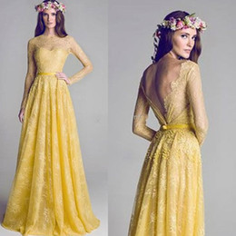 New Illusion Neckline Backless Yellow Lace A-Line Long sleeve Prom Dress Evening Gowns Bridesmaid Party Dresses Celebrity Dress Gradu