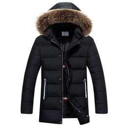 Fall-New plus size M-3XL winter brand keep warm even cap hair collar medium length down parkas men thick overcoat loose coat for man