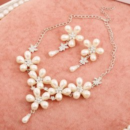 Wholesale Party or Wedding Jewelry Sets Pearl Beads Necklace Earrings New Fashion Bridal Jewelry Sets Bridal Sets Uk