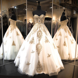 Wholesale 2016 Sweetheart Quinceanera Dresses Ball Gowns Tiers Tulle with Gold Appliques Sweet Prom Party Gowns Custom Pageant Gowns