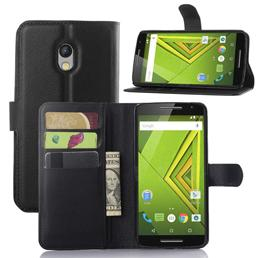 For Motorola MOTO X Play Fashion Litchi Pattern PU Leather Wallet Stand Cover Case with Card Slot
