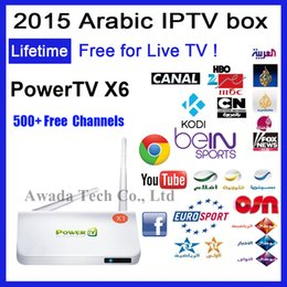 Wholesale Arabic IPTV Box PowerTV X6 Android smart TV free forever LiveTV reciever channels server beiN sport sky OSN French Europe Kodi XBMC