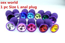 1 PC Size L Purple Silicone Anal Plug,Butt Plug, Beads Sex Toys,Crystal Jewelry Sex Products For Adult Games With Clothes Bag