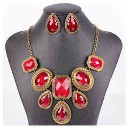 PN12701 fashion new Vintage Necklace Set Jewelry Set Red blue Color Charm Necklace Womman Dress Chocker
