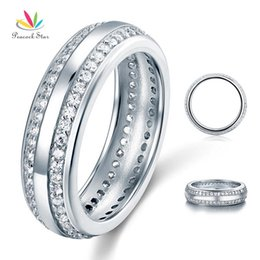Wholesale-Wholesale Created Diamond Women Solid Sterling 925 Silver Wedding Band Ring Jewelry CFR8040