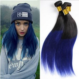 Ombre human hair weaves Straight hair bundles 1B&Blue two tone color Hair wefts 8~34inch Brazilian Indian no shedding hair extensions