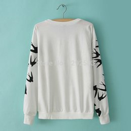 Wholesale New Spring Fall women hoodies sweatshirts swallow printed basic cotton polyester french terry pullover lady