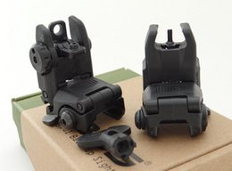 Wholesale High quanity of Black Front Rear Flip Up Back up Sights Mount Set Front and Rear Folding sight BK By