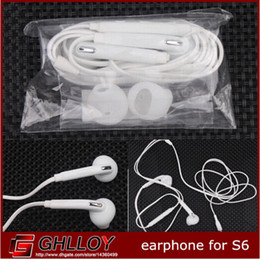 High Quality In-Ear Wired Headphone Earphone headset Flat Style With Volume Control Mic Earphone For Samsung Galaxy S6 S6 Edge 100pcs up