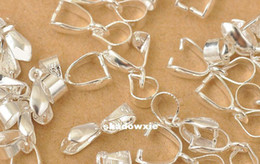 Wholesale Sterling Silver Wholesale Connector - Wholesale - Free Shipping 50X Size-L 50X14MM 925 Sterling Silver Findings Bail Connector Bale Pinch Clasp 925 Silver Pendant Fittings Bail