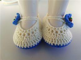 Crochet Knitt booties with blue flower Handmade Baby Socks infant Newborn Shoes Toddler Shoes 0-12M customize
