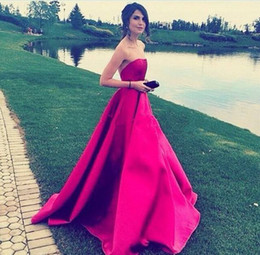 Elegant Rose Red Strapless A Line Long Evening Dresses 2020 Satin Pleats Backless Prom Party Gowns