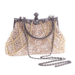 Wholesale European Fashion Antique Wedding Clutch Bags Gold Silver Sequins Long Chains Pearl Criss Cross Beading Evening Bags Hand Bag