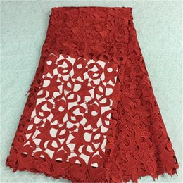 (5yards pc)BW79-3,Fashionable african lace fabric with red flower embroidery french guipure lace fabric for party dress