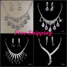 Wholesale Elegant Bridal Jewelry including Earring and Necklace Sets Sliver Plated Crystals For Bride Wedding Party Wear Cheap Real Girls Prom