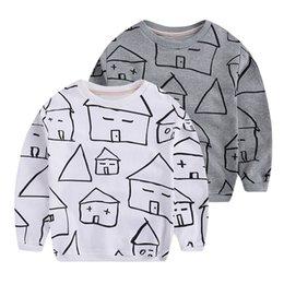 Wholesale Baby hot sale long sleeve shirt Infant little house pattern cotton t shirts Children spring warm tops popular taps