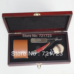 Wholesale New Shave wooden box Kit Men Red Black Metal handle Straight Razor Shaving Brush and leather Strop Gift
