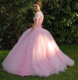 2015 Quinceanera Dresses with Short Sleeves Pink Ball Gowns Cheap Quinceanera Gowns Prom Dresses with Crystals Rhinestones