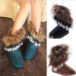Free shipping 2017 autumn and winter snow boot Feathers fox fur flat-bottomed short cotton-padded shoes winter boots