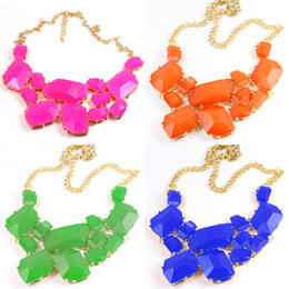 Statement Necklace New Chunky Chain Candy Resin Geometry Drop Pendants Golden Bib Necklace Jewelry 7colors