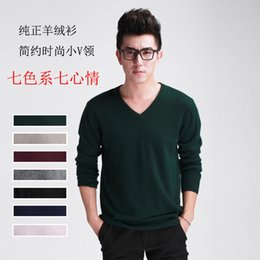 Wholesale-Autumn Winter New V-Neck Cashmere Sweater Men Business Casual Knitted Sweater Cashmere Pullover Men Pullovers Free Ship B1855