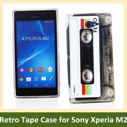Wholesale Retro Cassette Tape Print Soft TPU Cover Phone Case for Sony Xperia M2 S50h Free Shipping