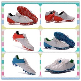 Wholesale New Product Best Discount Tiempo Legend VI FG Shoes Futbol Football boots blue White green Red Boots Soccer Cleats