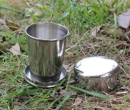 Wholesale Stainless Steel Retractable Keychain - Wholesale 150ML Stainless Steel Portable Mini Travel Retractable Cup Keychain Folding Collapsible Cup