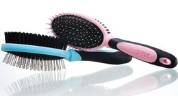 Wholesale PC Double Sides Pet Dog Cat Grooming Comb Brush With Massage Pins Dry Powder Special Comb Pink Blue