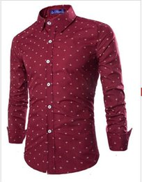 2015 New Men Boat Anchor Printing Long Sleeve Shirt Fashion Mens Patchwork Color Slim Fit Shirt Casual Shirts Mens Dress Shirts