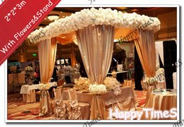 Wholesale 2 m Luxury Wedding Outdoor Decorations Canopy Curtain In Champagne Colors With Flowers Banquet Reception Hall With Stand