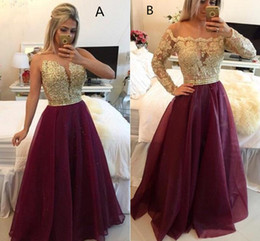 Long Sleeves 2 style Lace Prom Dresses Applique Beaded Top Beads Sash Organza Floor Length Evening Gowns With Buttons Formal BO9608