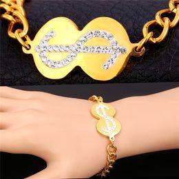 $ Pattern Link Chain Bracelet 18K Gold Plated With 18K Stamp Austrian Rhinestone New Fashion Jewelry For Women MGC