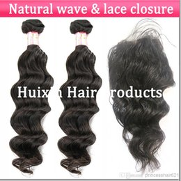 Wholesale Brazilian Virgin Hair Bundles Deal Human Hair natural wave Pieces hair weave with Piece Lace Closure fast delivery