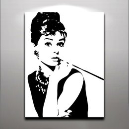Audrey Hepburn - Fashion Queen Elegant Lady Oil Painting Printed on Canvas Wall Art For Home Hotel Office Fantastic Decor
