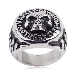 Wholesale 316 stainless steel vintage classic biker silver motocyle ring for man
