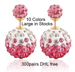 Double Sided Crystal Rhinestone Earrings Gradient Shamballa Balls Reversible Dual Sizes Stud Earrings 10 Colors