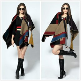 Wholesale 2014 Fashion Women Cashmere Autumn Winter Cape Poncho Coat Grid High Grade Brand Street Style Retro Wool Short Cape Poncho Coat ML00201