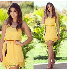 Summer Dress Women Casual Slim Sexy Sleeveless Yellow Lace Patchwork Party Mini Dresses
