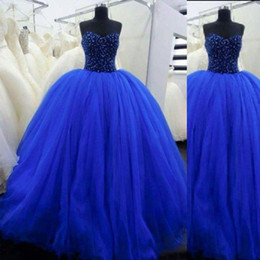 Stunning Royal Blue Quinceanera Dresses Beaded Corset Top Floor Length Tull Ball Gown Prom Gowns Lace-up Back Custom Made Plus Size