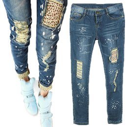 On Sale 2015 Women Ladies Casual Leopard Slim Pencil Jeans Pants Trousers Blue
