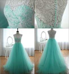 Lace Prom Dresses 2015 Green Sheer Crew Neckline Tulle Zipper Back Long Evening Dresses Evening Gowns Prom Gowns