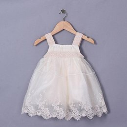 Summer Cute Girl Dresses Embroidered Beige Cotton Sleeveless For Princess Baby Dress Kids Clothes Wholesale GD50328-21