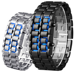 Wholesale Classic Sport Fashion Men Women Lava Iron Samurai Metal Blue Red LED Faceless Bracelet Watch Wristwatch Stainless Watches for Man Women
