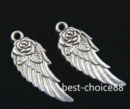 Free 150Pcs Tibetan Silver Two-Sided Rose Wings Charms Pendant For Jewelry Making 31x11mm HOT