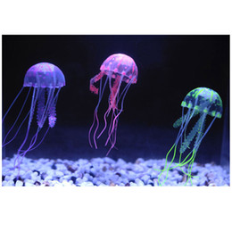 Wholesale 5 Colors Optional cm Artificial Glowing Jellyfish with Sucker Fish Tank Aquarium Decoration Aquarium Ornaments Accessories H15202