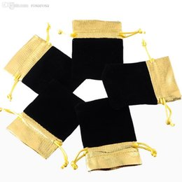 Wholesale-25PCs 7x9cm Black Velvet Bags Gold Trim Drawstring Jewelry Gift Bags Pouches