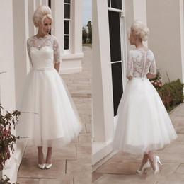Wholesale Vintage Short Wedding Dresses Ball Gown Tea Length Long Sleeves Lace Appliques Sash House of Mooshki Darla Covered Button Dresses BO9488